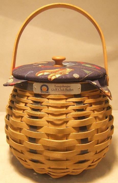1021: Longaberger 2003 Golf Basket Set, Lid, Liner, Pro