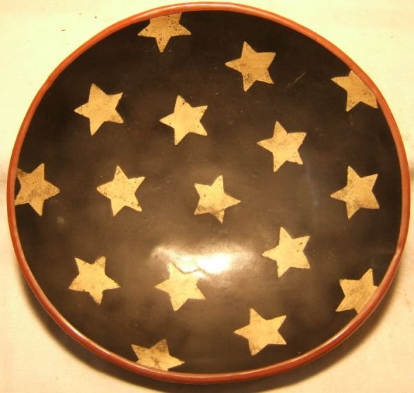1005: Red Oaks Pottery Patriotric Redware Bowl Signed