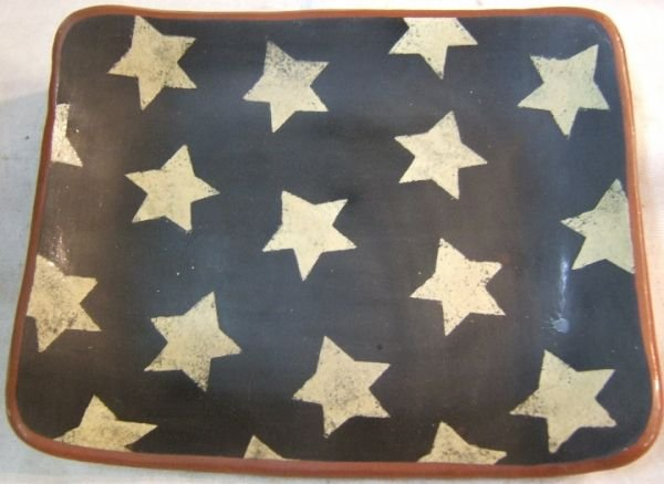 1015: Red Oaks Pottery Patriotric Redware Plate Signed