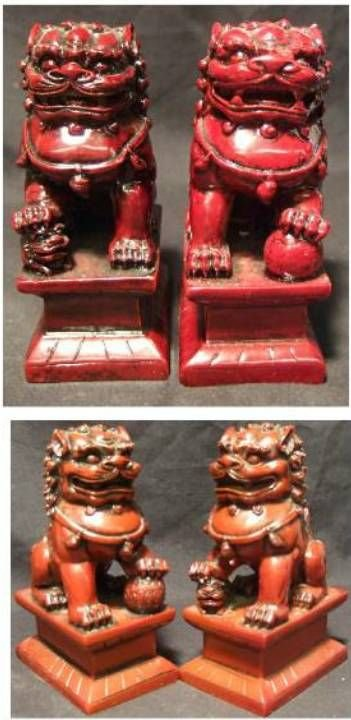 1004: Two Pair of Chinese Foo Lions, One Pair Stamped