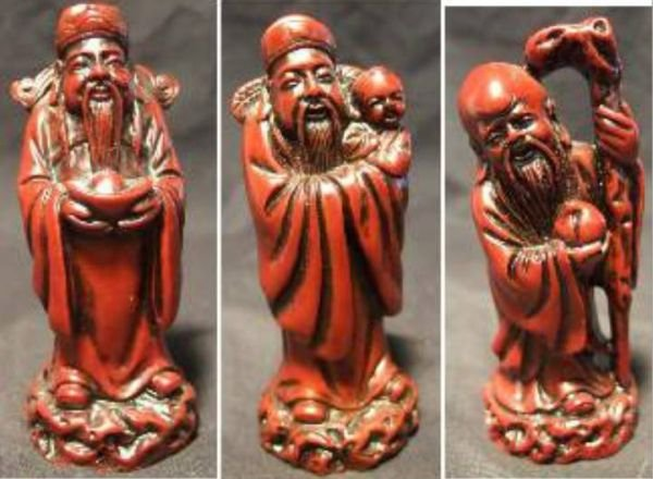 """1013: Three Chinese God Statues, Approx. 4"""" H, Excelle"""