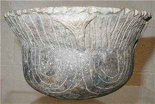 Ranch Incised Mississippian Indian Pottery Bowl