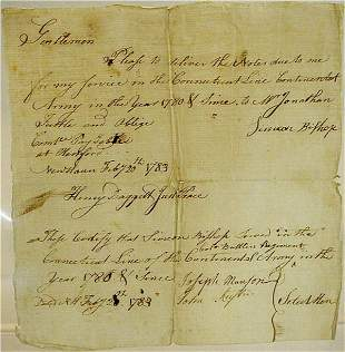 Continental Army Payment Due Note, 1783