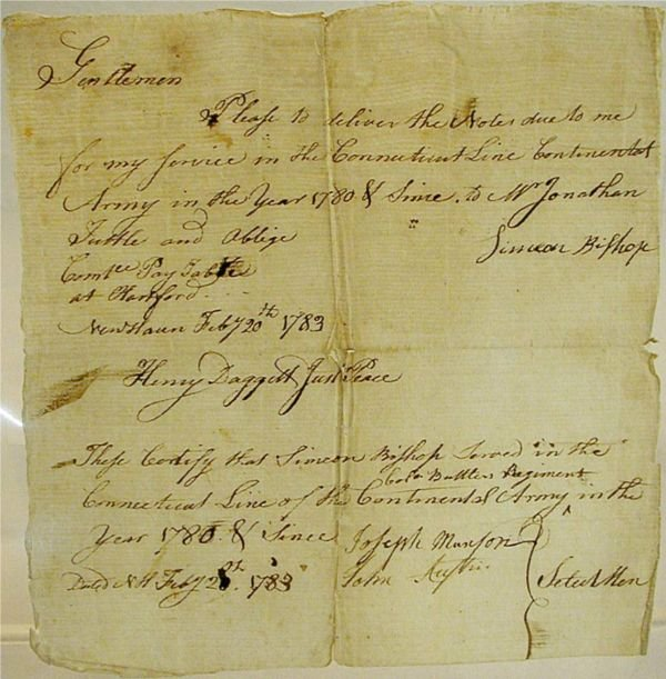 2020: Continental Army Payment Due Note, 1783