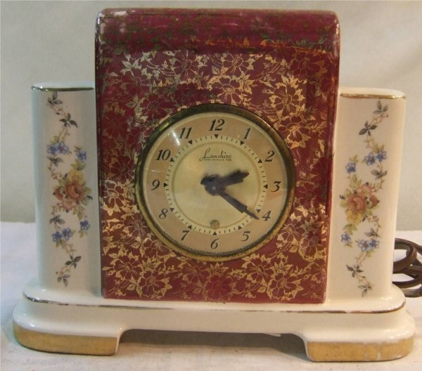 1022: Lanshire Electric China Mantle Clock, Domed Dial