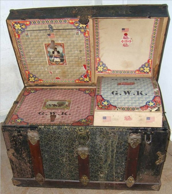95: Humback Trunk with Ornate Decorated Compartments