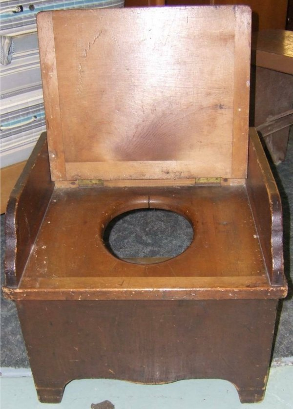 12: Primitive Potty Chair with Lower Cabinet