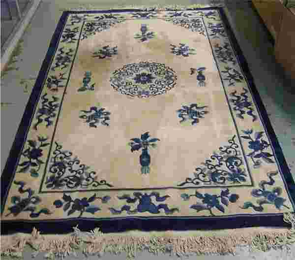 Blue And White Chinese Rugs: 201: Chinese Blue And White Oriental Rug, 8 X 5