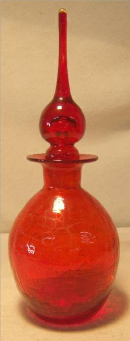 11: Rainbow Crackle Bottle with Stopper , Amberina Red