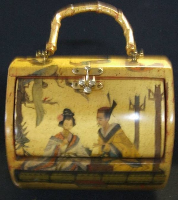 23: Deco Pache Box Purse with Bamboo Handle,  Excellent