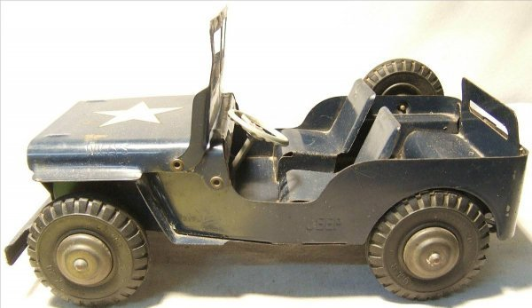 """4004: Marx Willeys Jeep, Blue with Army Star, 11"""" Long"""