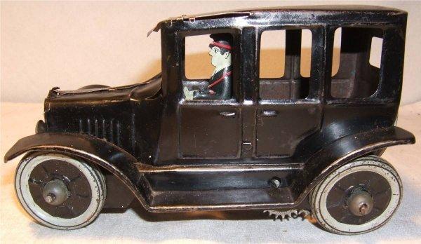 "4006: Strauss 7"" Prewar Windup Black Sedan, Works"