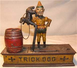 "4012: Trick Dog Cast Iron Mechanical Bank, 9"" Long, Exc"