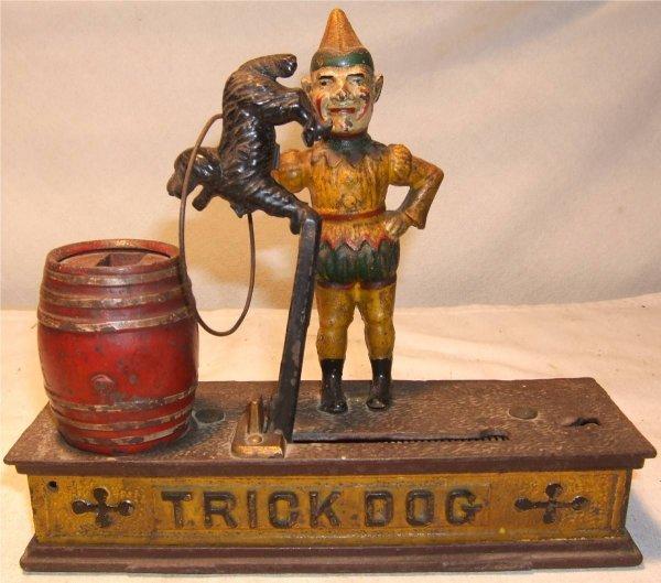 "4012: Trick Dog Cast Iron Mechanical Bank, 9"" Long, Exc"