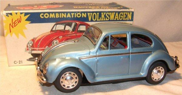 "4008: BO Volkswagon Beetle with Box, Japan, 9 1/2"" Long"