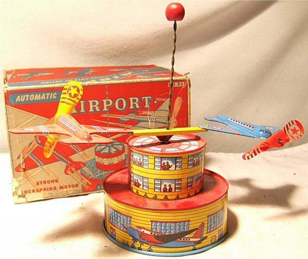 4021: Ohio Art Automatic Airport with Box, Near Mint To