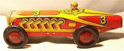 "4029: Marx #3 Racer. Tin Litho with Wind-up Motor, 13"""