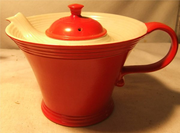 "2050: Hall Melody Chinese Red Teapot, 7 1/2"" D x 6"" H"