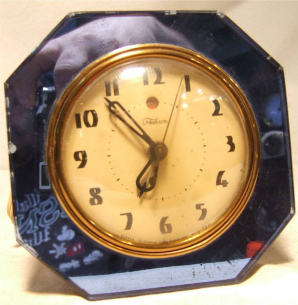 2003: Telechron Blue Mirror Art Deco Alarm Clock, Works