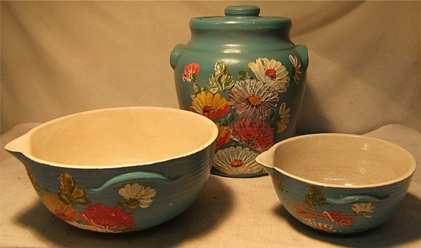 2004: Three Piece Stoneware Set, Hand Painted, Cookie J
