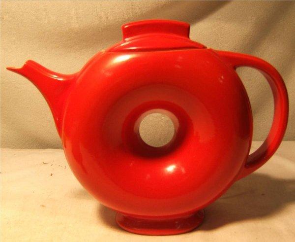 2094: Rare Red Hall China Donut Teapot,Vintage, 7 Dia x