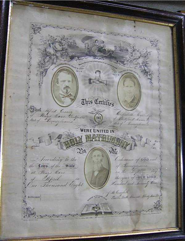 3020: Post Civil War Marriage Certificate, 1871 Dated,