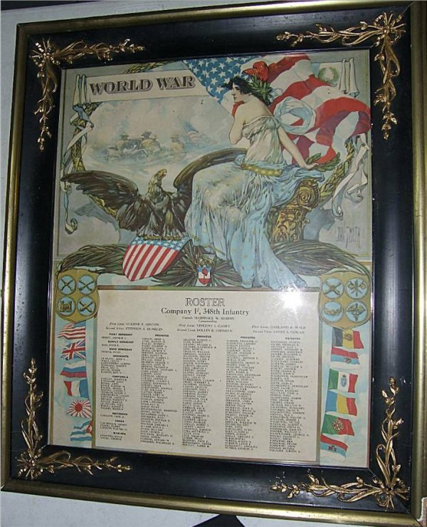 3019: WWI Framed Roster, Company F, 348th Infantry, 20