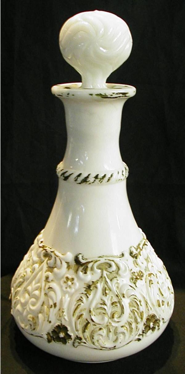 3008: Milk Glass Victorian Decanter