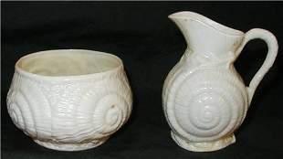 Belleek Shell Pattern Cream & Sugar Set, Green Ma