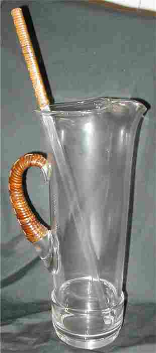 Large Martini Pitcher with Wicker Strap Handle