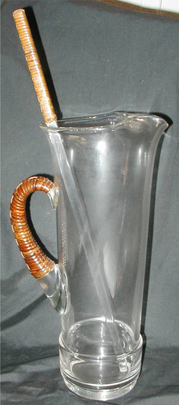 3011: Large Martini Pitcher with Wicker Strap Handle