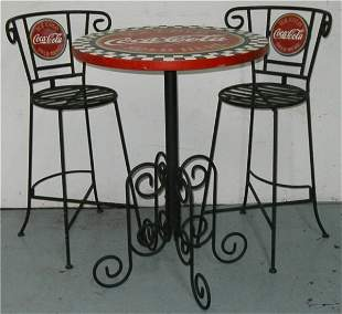 Coca-Cola Ice Cream Parlor Set w/Two Chairs