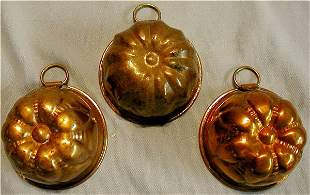 """Set of Three Copper Muffin Molds, 3"""" Dia."""