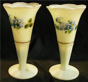 """Custard Opalescent Vases Hand Painted, 6"""" H"""