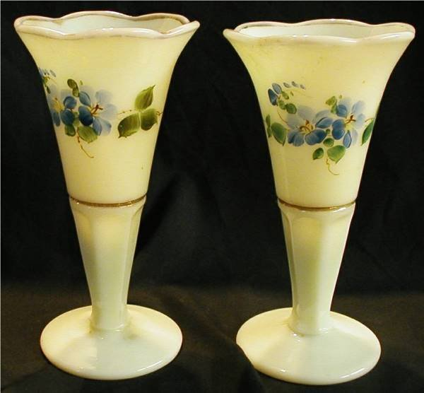 """1007: Custard Opalescent Vases Hand Painted, 6"""" H"""