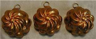 """Set of Three Copper Muffin Molds, 2 1/2"""" Dia."""