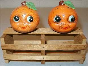 Antropomorphic Oranges w/Crate Salt & Peppers