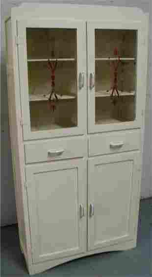 Hoosier Two Glass Door Kitchen Flatwall Cabinet