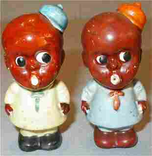 Pair of Black Americana Children Salt & Pepper
