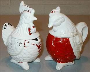Rooster Cream, Sugar, Salt & Pepper Set