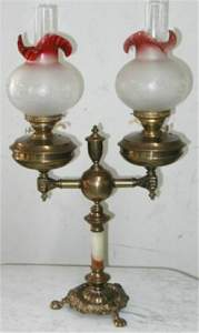 1085: Cranberry to Clear Electrified Double Oil Lamp