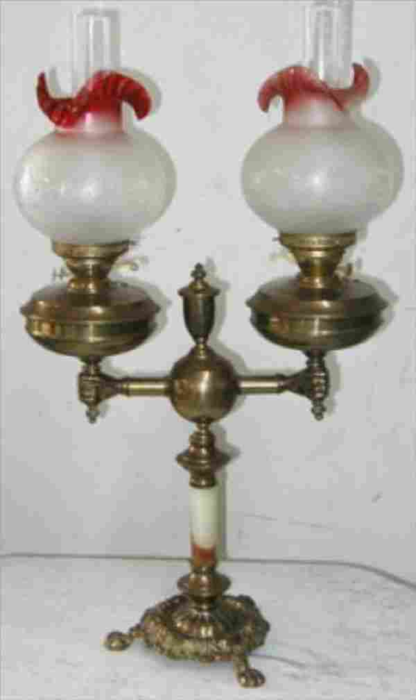 Cranberry to Clear Electrified Double Oil Lamp