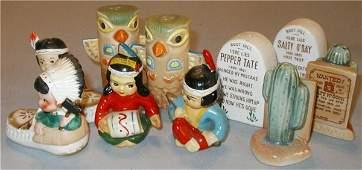 1110: Five Vintage Indian/Western Salt & Peppers