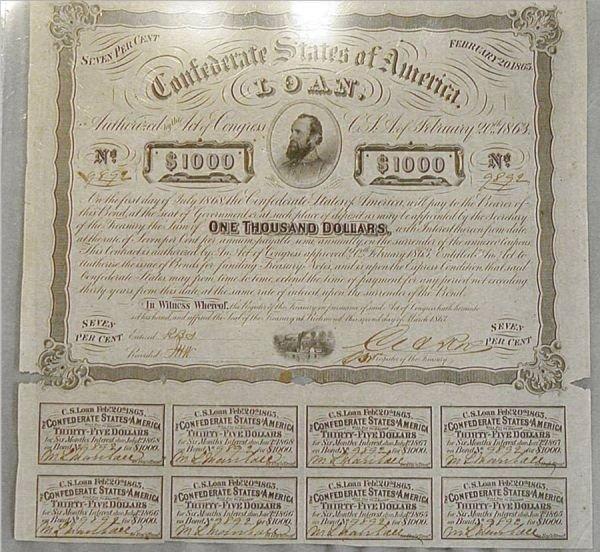 2014: Confederate States of America $1000 War Bond