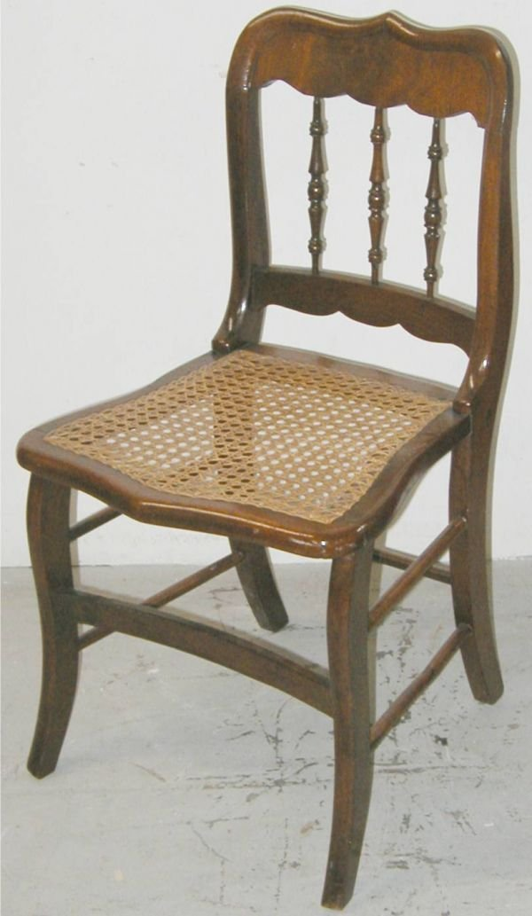 13: Walnut Country Victorian Cane Seat Chair