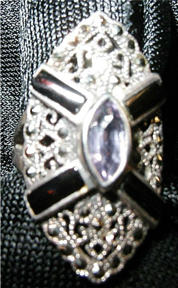 24: Silver Tone Marquisette & Amethyst Stones Ring
