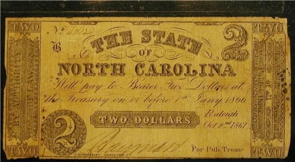 1006: 1861 CW Two Dollar North Carolina Bill