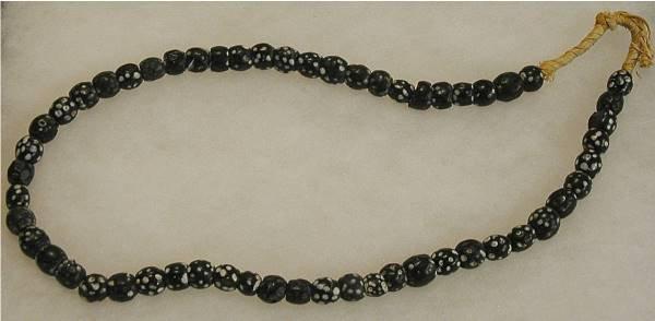 "1014: Black ""Skunk"" Beads w/ White Spots, Ca. 1700"