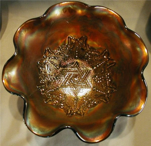 2022: Carnival Glass Star of David Pattern Bowl