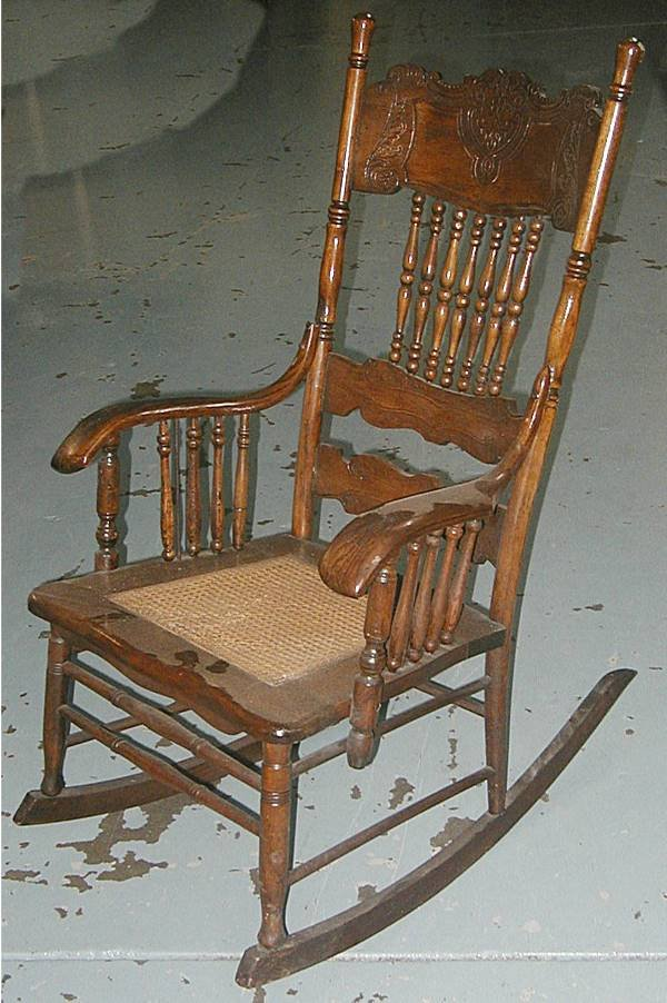 2007: Oak Pressback Rocking Chair w/Wicker Seat